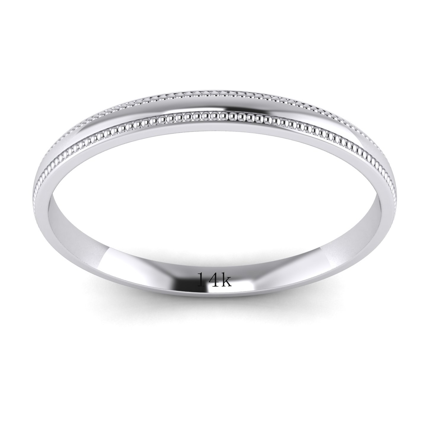 LANDA JEWEL Unisex 14k White Gold 2mm Light Court Shape Comfort Fit Polished Wedding Ring Milgrain Band (6) by LANDA JEWEL (Image #2)