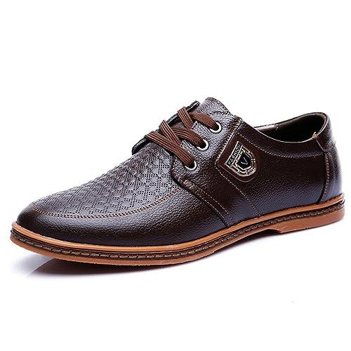 Los Hombres de Cuero Zapatos Casuales de Encaje hasta Calzado de Negocios Mocasines Adultos Zapatos Masculinos: Amazon.es: Zapatos y complementos
