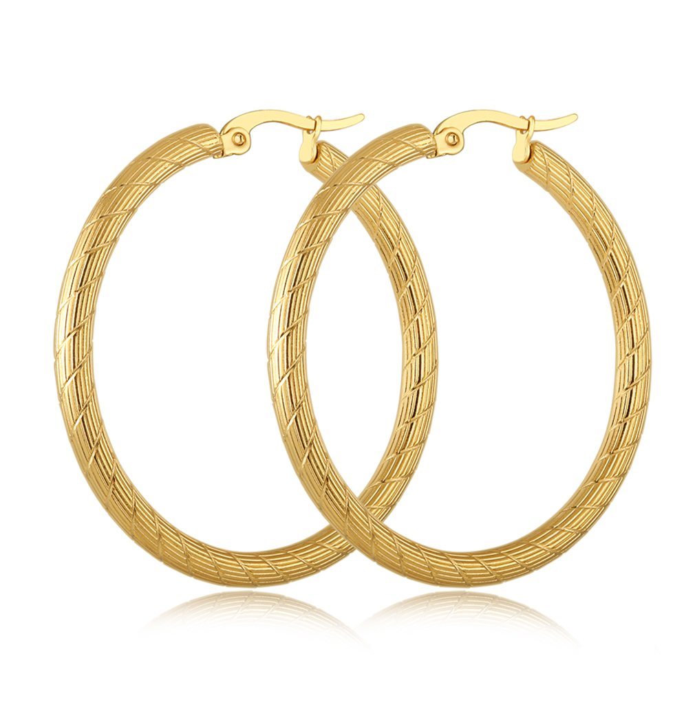Yumay 10K Yellow Gold Plated Large Hoop Earrings for Women,40MM Fashion Style Hoop Earrings for girls.