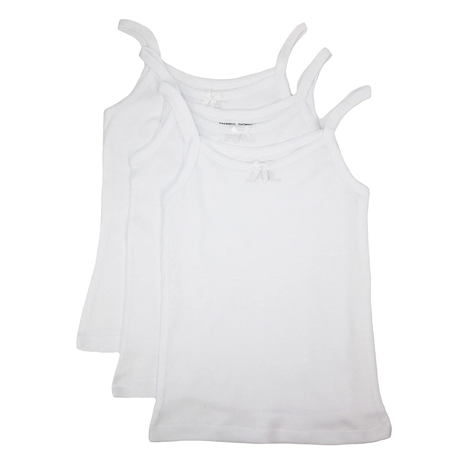Rene Rofe Girl's Bow Front Cotton Cami (Pack of 3) Small White