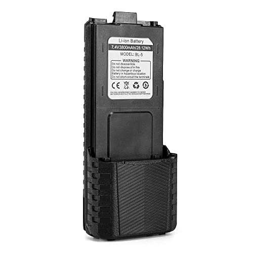 Baofeng BL-5 3800mAh Extended Battery Compatible with UV-5R RD-5R UV-5RTP UV-5R Plus, Original Pack, Black