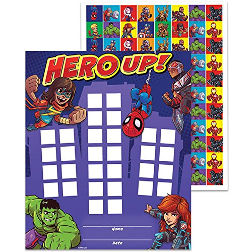 (Eureka Back to School Marvel Avengers ''Hero Up'' Mini Reward Charts for Kids with Stickers, 736pc, 5'' W x 6'' H)