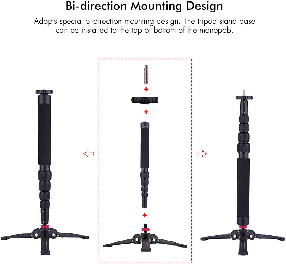 TPOTOO Multifunctional Photography Camera Monopod Aluminum with Detachable Tripod Stand Base 1//4 Inch /& 3//8 Inch Screw Mount 46.5-128cm Adjustable Height Max Load 5kg for DJI Rosin-S Zhiyun Crane 2//3