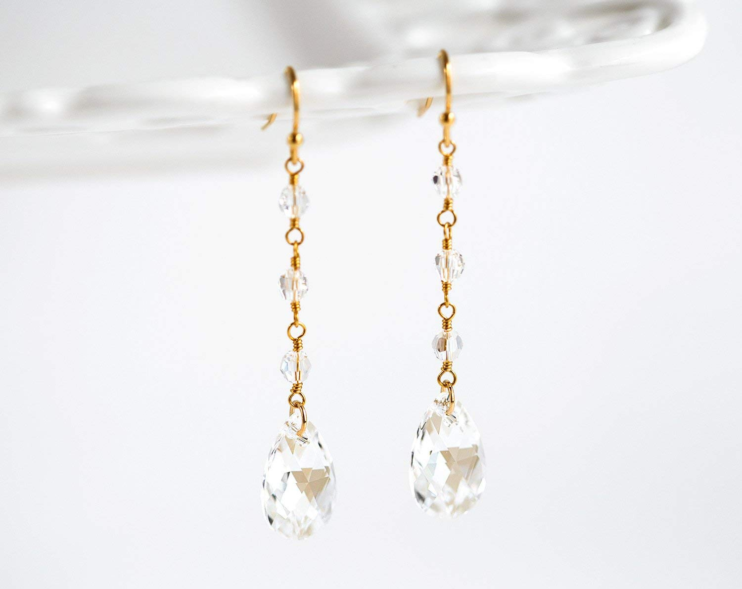 Amazon Com Gold Earrings Bride Earrings Swarovski Crystal