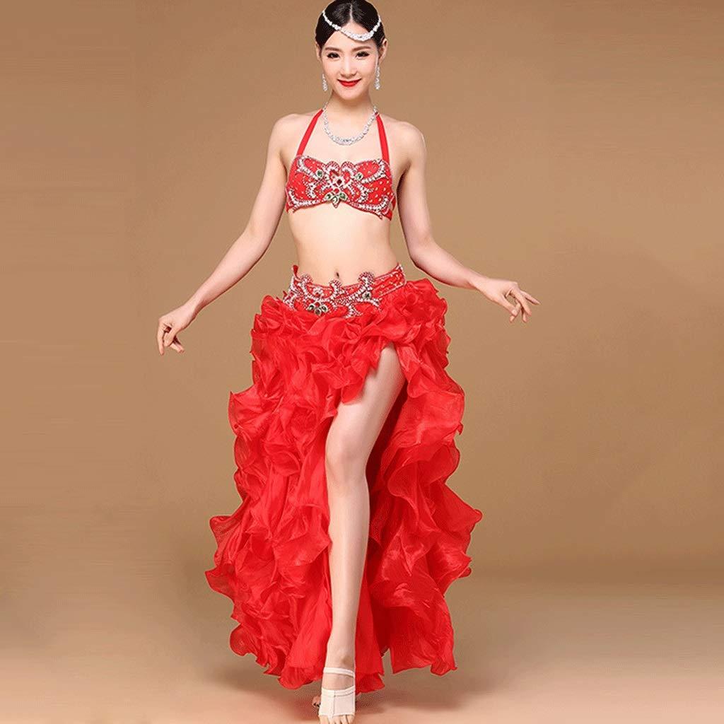 最安 女性のベリーダンスの衣装大人のラインストーンブラパフォーマンスセット高スリット波ビッグスイングドレス衣装2個 B07Q3W9NVW M|レッド M|レッド レッド レッド M M, ユニチョウ:ef811825 --- a0267596.xsph.ru