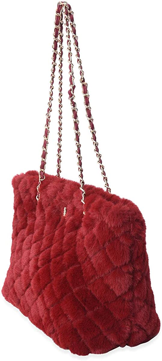 Red Quilted Checker Pattern Acrylic Faux Fur Tote Bag Handbag Shoulder Bag Mothers Day Gifts