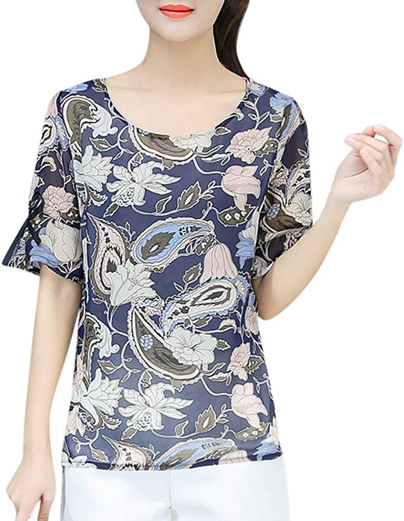 Benficial Women Summer Casual T Shirts Short Sleeve O-Neck Print Top Blouse 2019 Summer