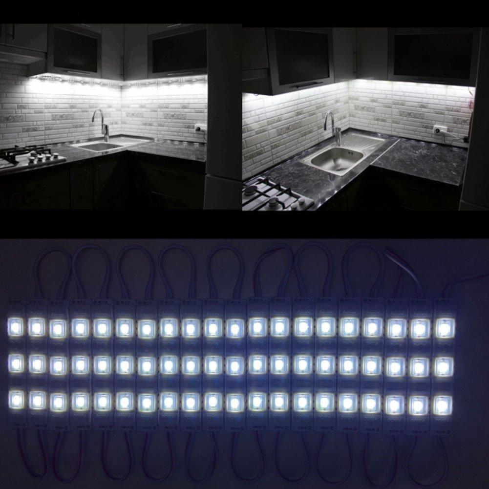 Under Cabinet Lighting kit 60leds 10ft White LED Light Brightness Dimmer Closet Lights Kitchen Counter (White)