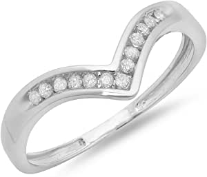 Dazzlingrock Collection Anillo de oro blanco de 0,10 quilates con diamante redondo de 10 quilates apilable para boda, aniversario, guardia de chevrón de 1/10 quilates