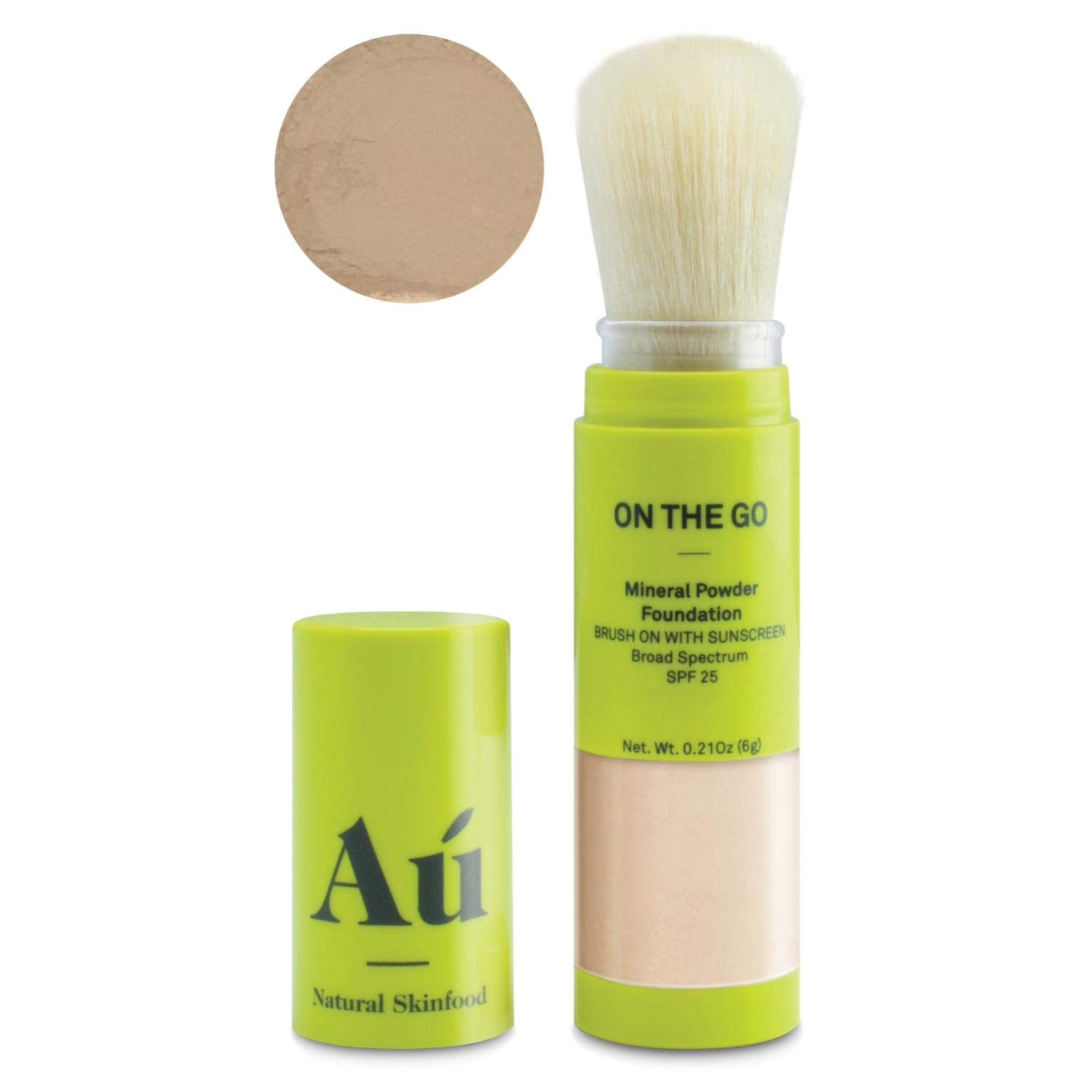 On the Go Mineral Powder Brush-On Sunscreen (Medium) by Au Natural Skinfood | Broad Spectrum SPF 25 UVA/UVB Protection | Oil-free; Reef Safe; Translucent Tinted Sun Safety for Men, Women, and Children