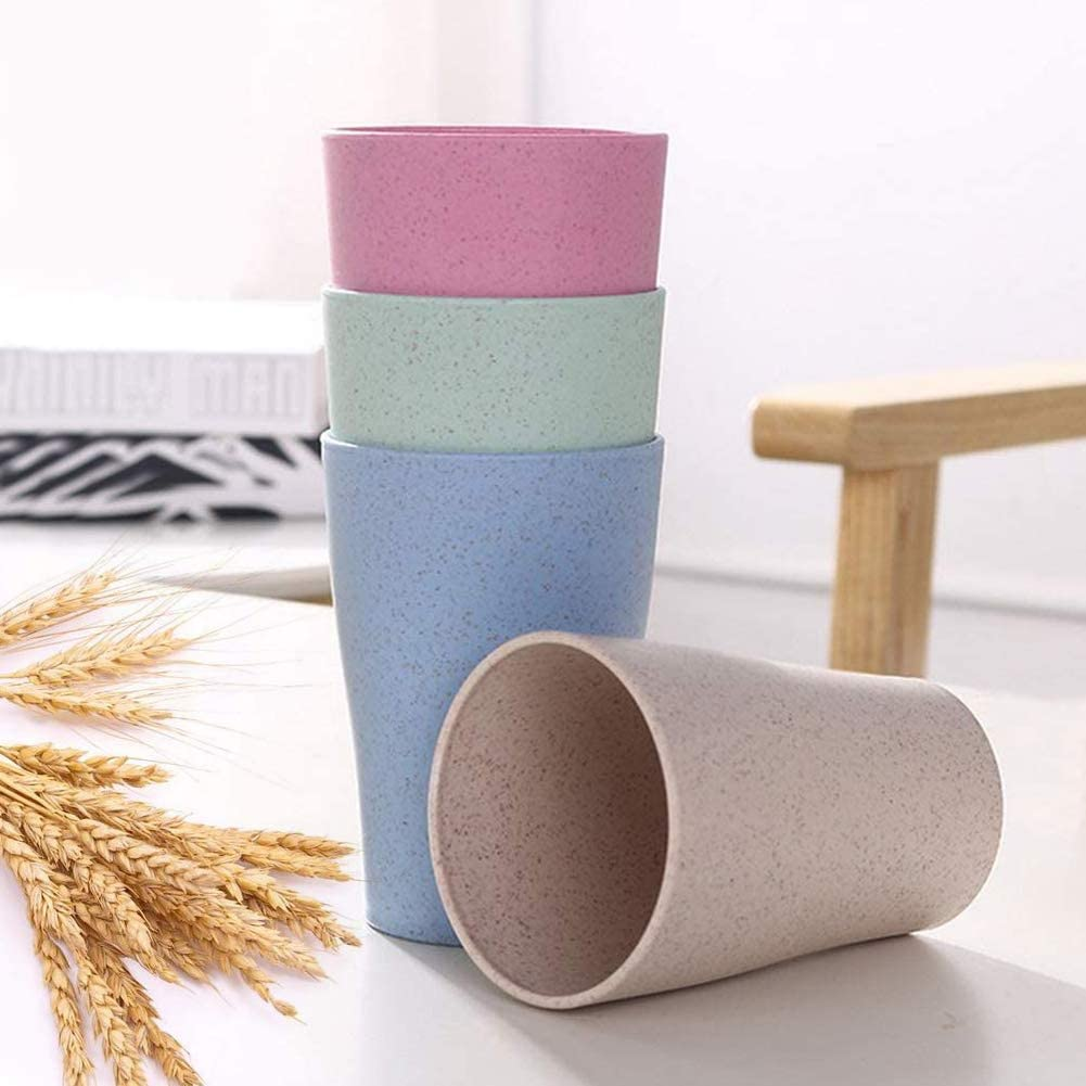 Eco-friendly Reusable Drinking Cup Fiber Lightweight Tumbler Set Children Adult for Milk Water - Wheat Straw Cup Set of 4 13.5 OZ Juice