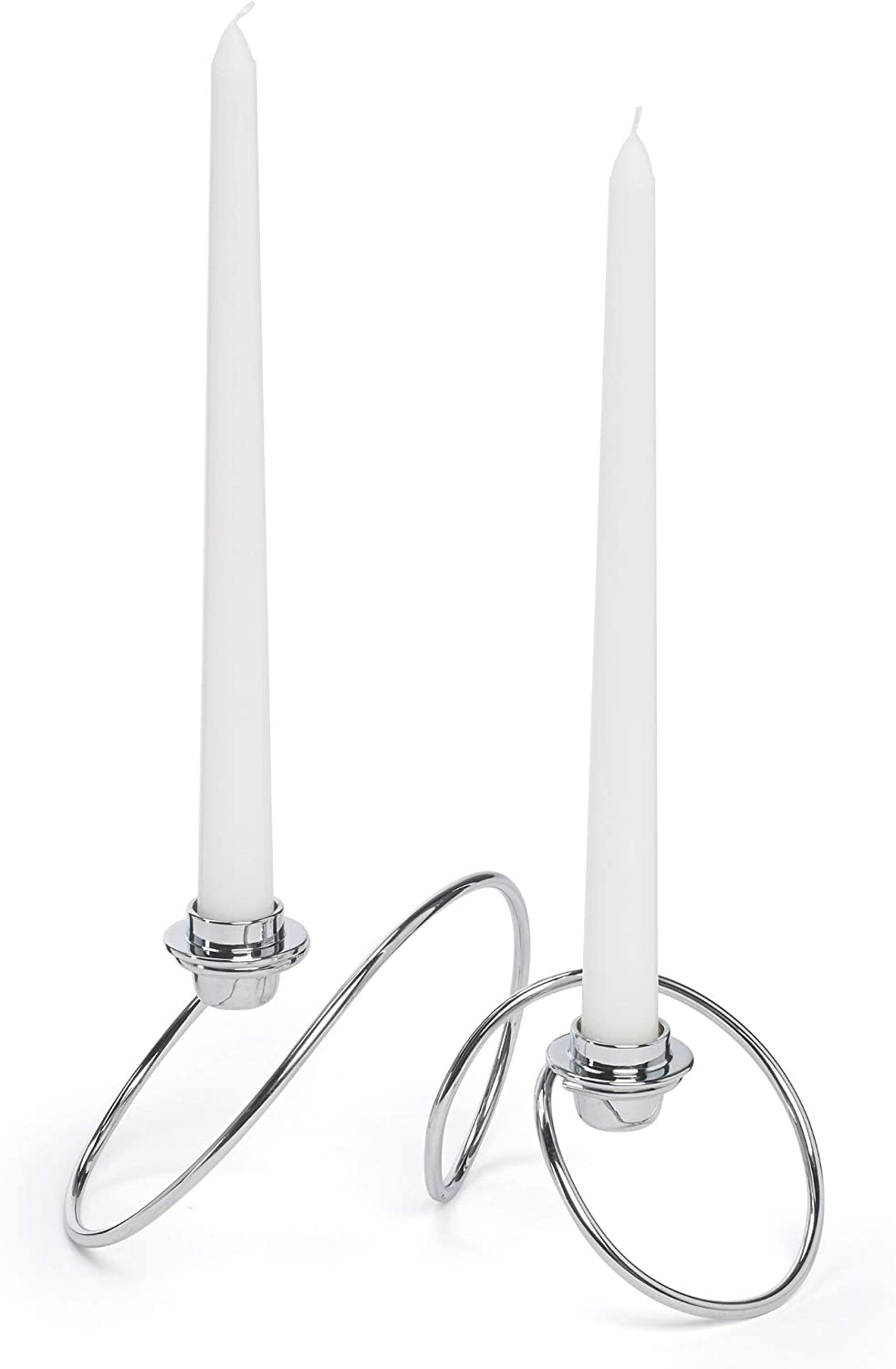 Silver Candlesticks Chrome Dinner Table Taper Candles Contemporary Design