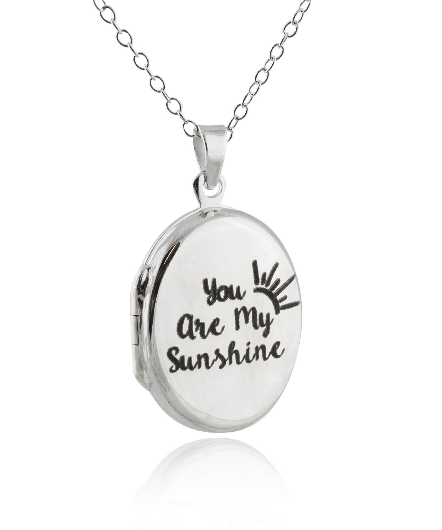 FashionJunkie4Life Sterling Silver You Are My Sunshine My Only Sunshine Engraved Double Sided Locket Necklace, 18'' Chain