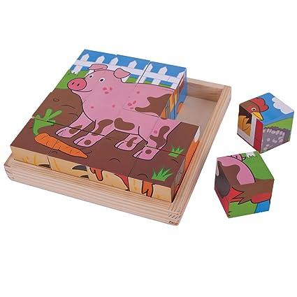 Bigjigs Toys Farm Cube Puzzle (16 Piece)