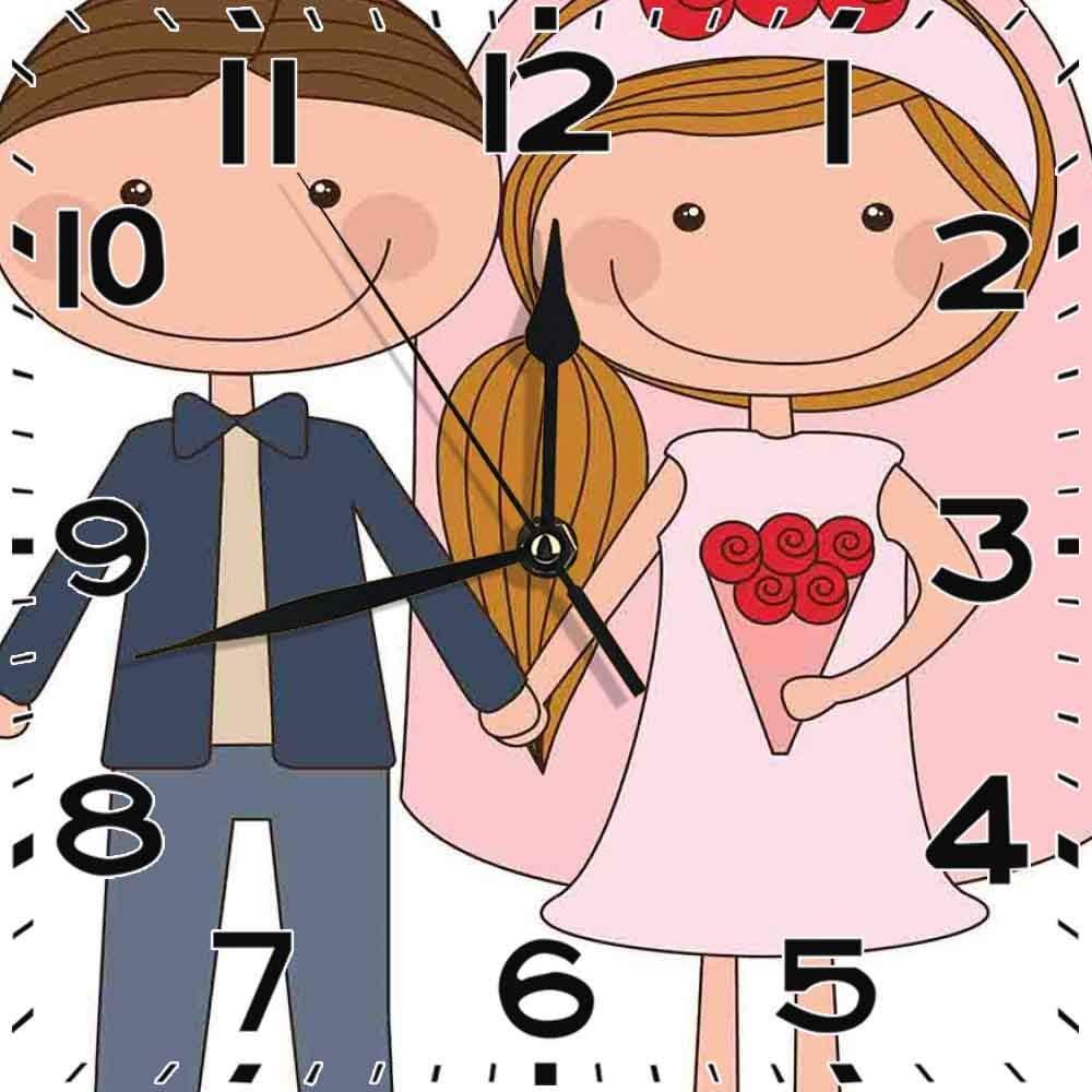 jifyasuo Reloj Cuadrado Novio recién Casado Novia Rubia con Cola de Caballo Lateral Decoración de Oficina en casa silenciosa Reloj decoración de Oficina