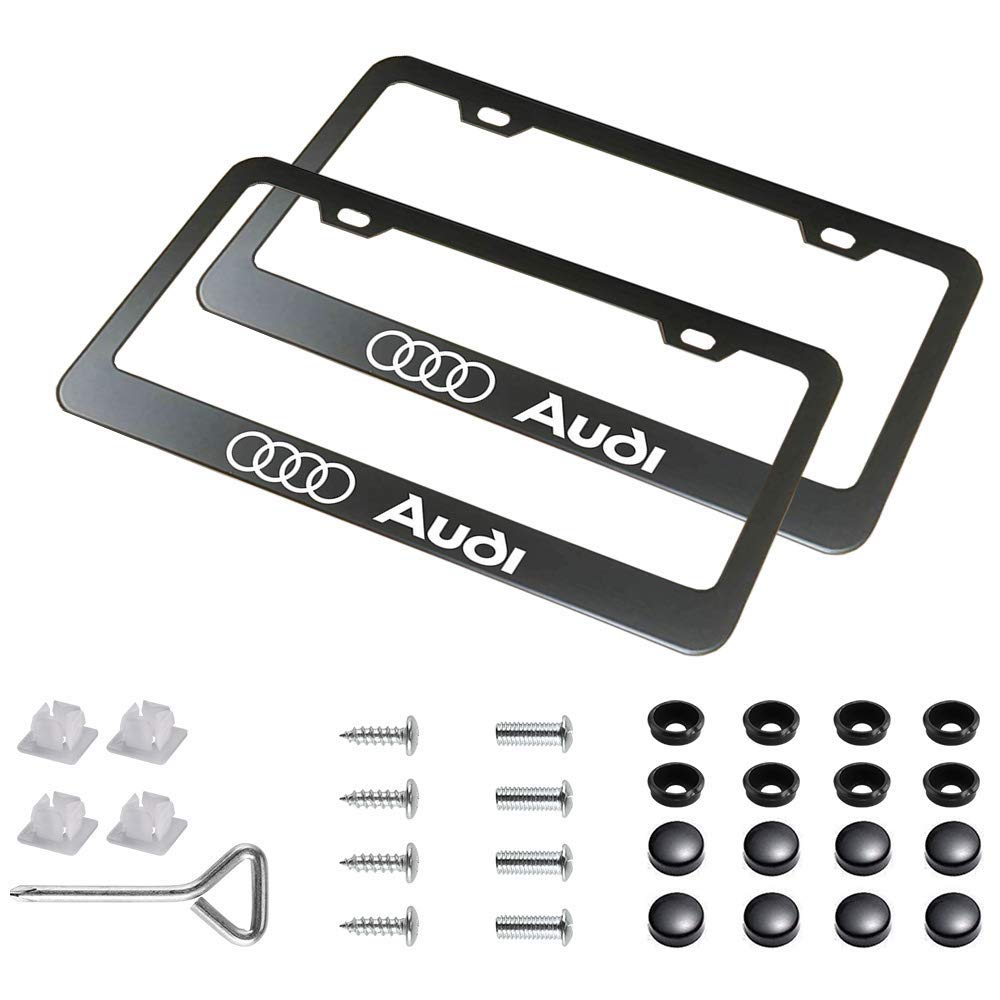 IHEX Auto 2 Pieces Replacement for Audi Stainless Steel License Plate Frame with Screw Caps Cover Set Matte Black, Set of Front and Back