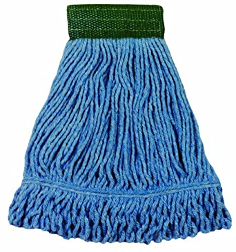 "Wilen A05101, Bulldog Cotton/Synthetic Blend Looped End Wet Mop, Small, 5"" Mesh Band, Blue (Case of 12)"