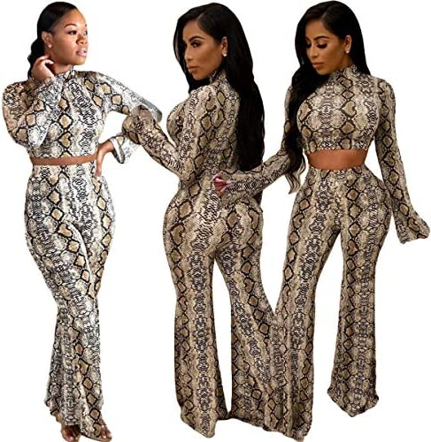 New 2020 Spring Autumn Women Two Piece Set Top and Pants Snake Heart Print Sexy Long Sleeve Short T Shirt Long Wide Leg Pants Tracksuit