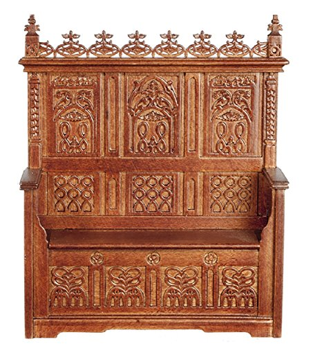 Melody Jane Dollhouse Gothic Monks Bench Walnut Miniature JBM Furniture by Melody