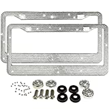 Jmkcoz 2 Pack Bling License Plate Frames Metal Chrome Luxury Crystal Bling License Plate Frame + Crystal Screw Caps for Both Front and Back License