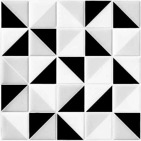 SQUARE MOSAIC VINYL WALL TILE Monochrome Home Decor Decal Stickers Peel /& Stick
