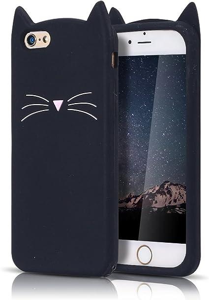 MoEvn Cover iPhone 6S, Custodia iPhone 6, 3D Carino Fumetto Gatto Morbida di TPU Silicone Ultra Sottile Flessibile Sottile Opaco Gel Antiurto ...