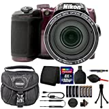 Nikon Coolpix B500 16MP Digital Camera Plum + Top Accessories & Extra Batteries