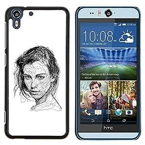 Stuss Case / Funda Carcasa protectora - Chica Negro Pen bosquejo blanco del dibujo del arte - HTC Desire Eye M910x