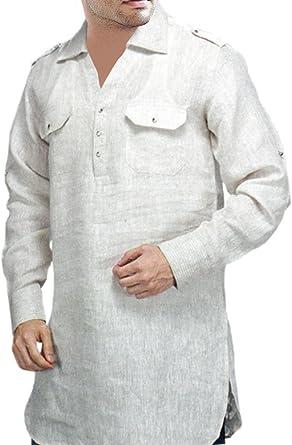 INMONARCH para Hombre túnicas Estilo White Linen Camisa tsls101: Amazon.es: Ropa y accesorios