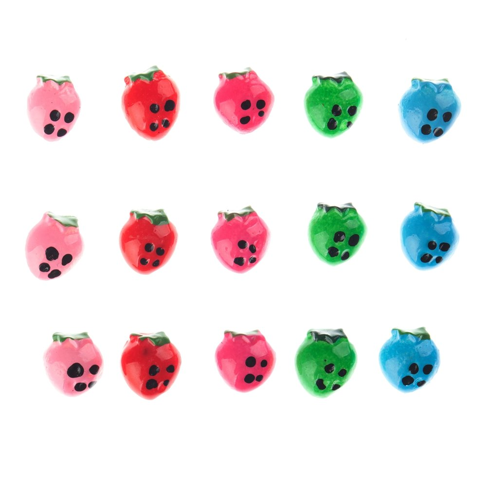 15 Strawberries Berries Fruit Coloured Nail Art Decorations Jewels Gems By VAGA®