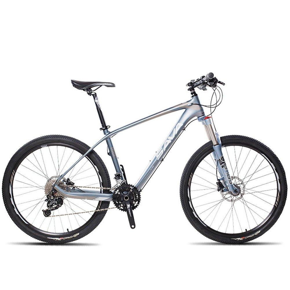 自転車 マウンテンバイク 炭素繊維フレーム カーボンファイバー 超軽量 シマノM370変速27速 26インチ B078PBQPGF 青い 青い