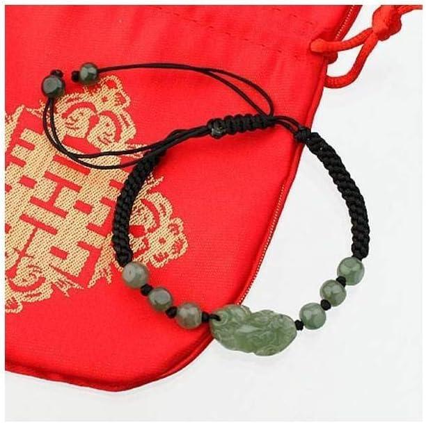 lachineuse Pulsera Negra y pixiu de Jade Verde – símbolo de Riqueza y protección – bolsita de satén