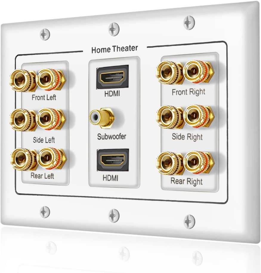 Banana Binding Post Coupler Type Wall Plate for 6 Speakers, 1 RCA Jack for Subwoofer & 2 HDMI Ports