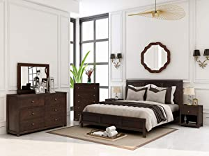 JOCESTYL Bedroom Sets King Furniture 6 PCS, Solid Wood King Size Bed, 2 Nightstand, Dresser, Chest, Mirror (Antique Brown)