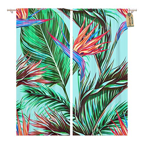 Golee Window Curtain Tropical Flowers Palm Leaves Jungle Bird of Paradise Beautiful Home Decor Rod Pocket Drapes 2 Panels Curtain 104 x 96 inches