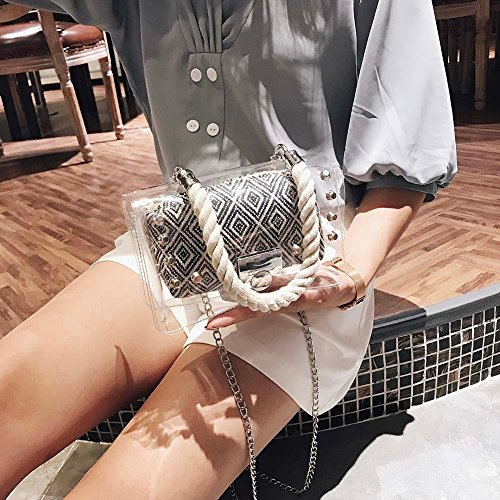 à pcs Été à Stripes PVC Plage Sac Noir Handbags Femmes Sacs Main UEB 2 Bandoulière Transparent Mini Messenger Chain EqTFAA