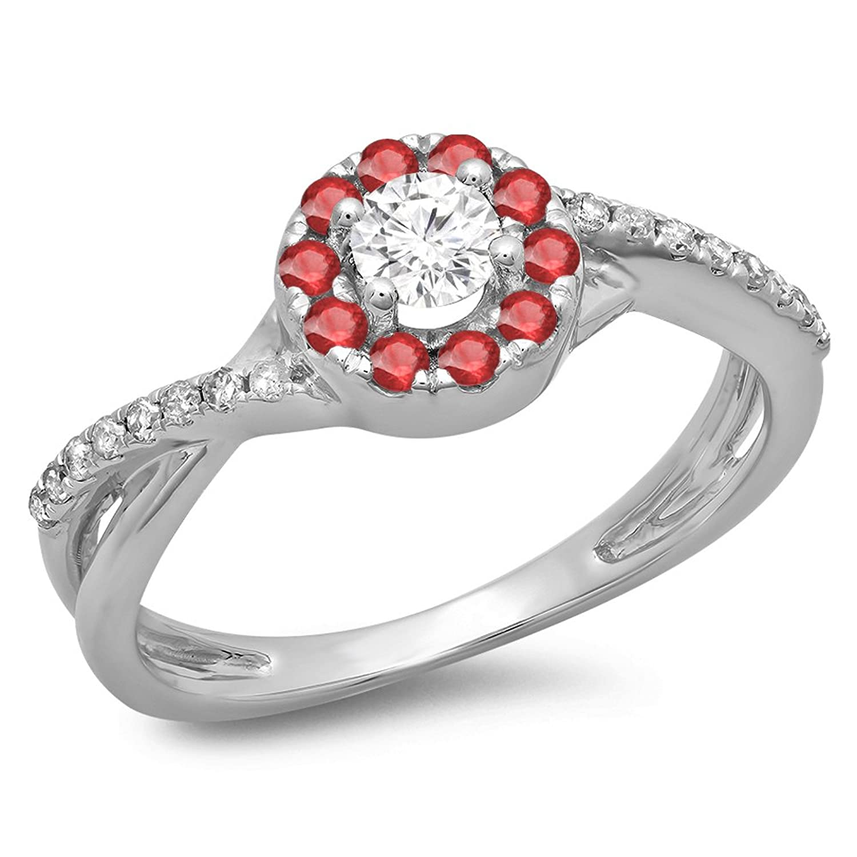 DazzlingRock Collection 10k oro corte redondo rubí y mujer diamante  remolino dividido anillo nupcial halo de 870e9145c14