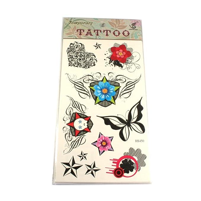 Tatuajes Corazón Flores Estrellas mariposa Calavera: Amazon.es ...