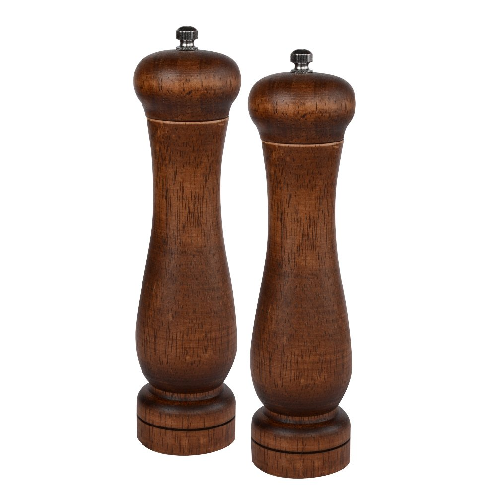 Haomacro Salt and Pepper Grinder Set, Pepper Mills, Oak Adjustable Shakers with Ceramic Core, 8 Inches-Pack of 2