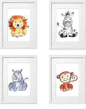 Dekoration Kinderzimmer M/ädchen Junge Deko 4er Set Kinderzimmer Babyzimmer Poster Bilder Din A4 Waldtiere Safari Skandinavisch(B/är,Kaninchen,Fuchs) Gr/üner Boden
