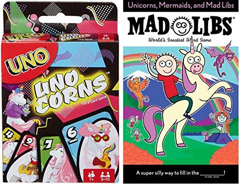 The World Loves Unicorns 2 Game Set Uno Theme Magical Unicorn & Mad Libs Word Game Unicorns Mermaids, Silly Fun Theme Deck UnoCorns Edition Card Matching Game -