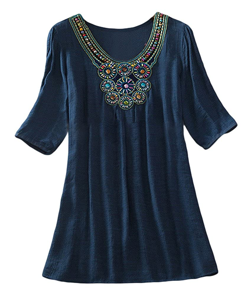 Xiang Ru Women Half Sleeve Cotton Ethnic Embroidery T Shirt XR170206F001