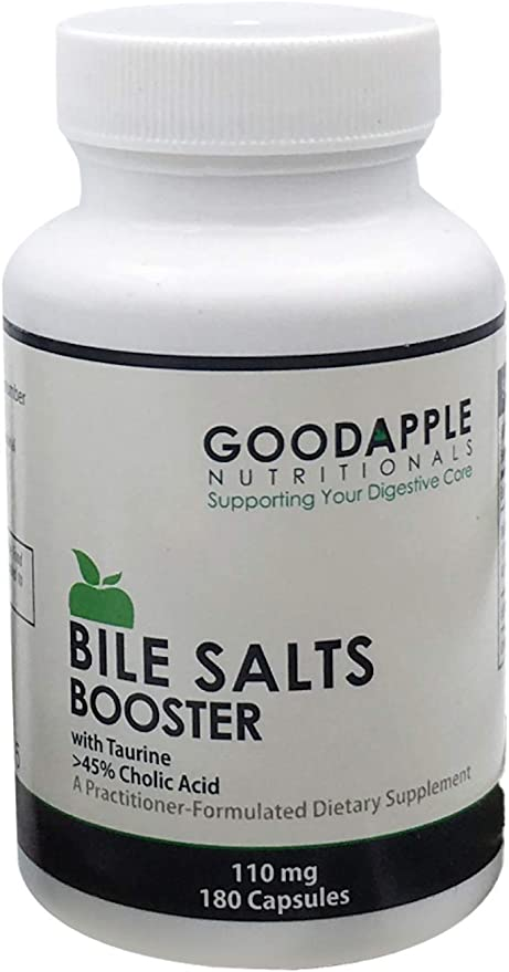 Bile Salts Booster for Gallbladder and No Gallbladder Aids in Nutrient Absorption including Fat-Soluble Vitamins Supports Gas & Bloating Ox Bile Salts & Taurine 180 capsules 110mg 