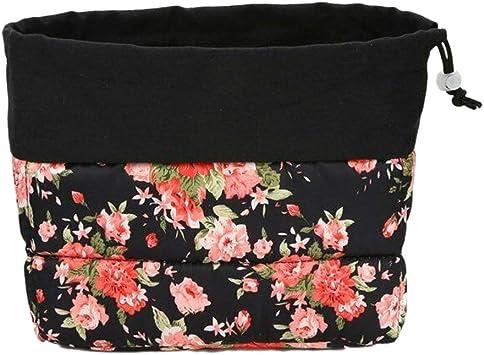 Cikuso Floral Inserte el Estuche Acolchado para Lentes una Prueba de Choques del Bolso de la Cámara DSLR de la Partición para (Rosa Negra Grande): Amazon.es: Electrónica