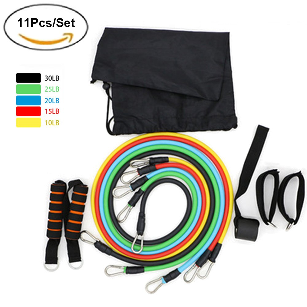 Carejoy 11Pcs/Set Resistance Band Set Including Exercise Bands, Door Anchor, Foam Handles, Ankle Straps and Carrying Bag for Resistance Training, Fitness and Exercise