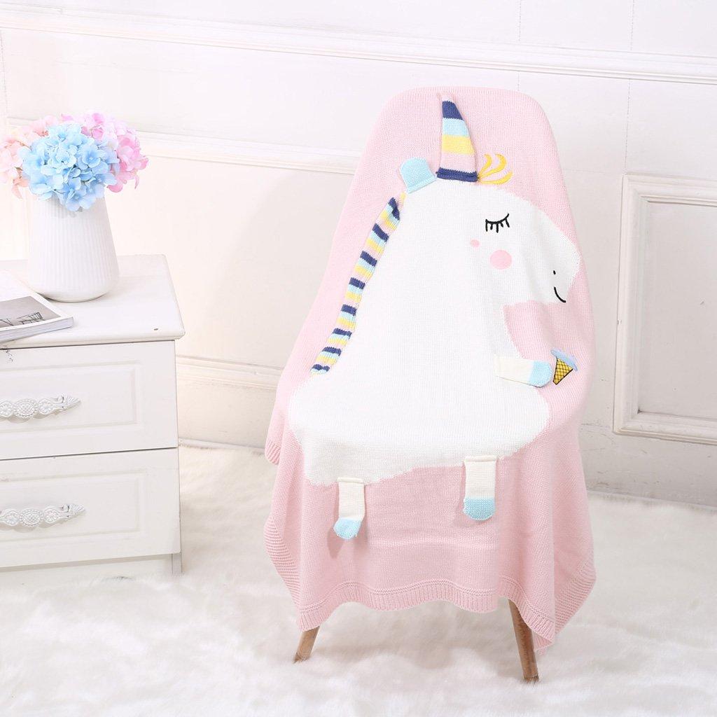 Rosa IPOTCH Einhorn Babydecke Kuscheldecke Krabbeldecke Kuschel Decke Tagesdecke Kinderdecke Erstlingsdecke Geschenk zur Geburt