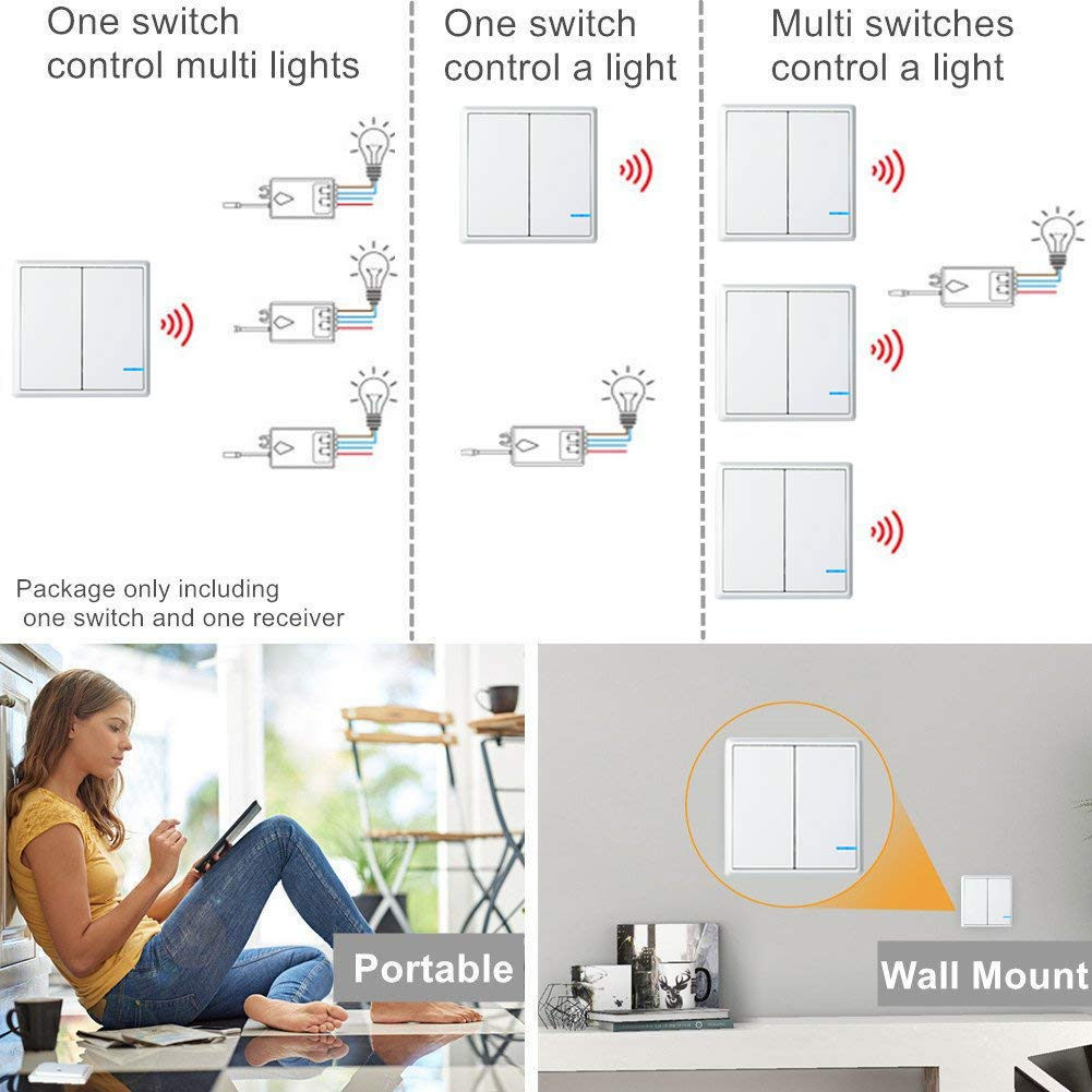 Greencycle Smart Wireless Wall Light Switch 1pk 2 Way Back Box Particularly With Multigang Switches In 2way Or 3 Remote Receiver Control Lamp On Off Controller