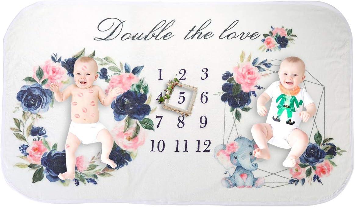 Bebé Los Gemelos Manta Mensual Hito, Franela Fondo Fotográfico, Recién Nacido Fotografía Mantas, Bebé Mensual Ducha Crecimiento Regalos