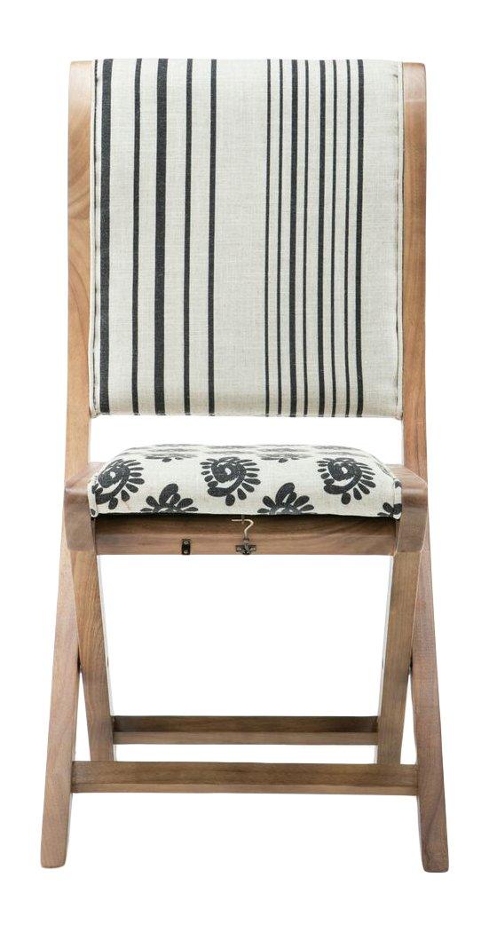 Boraam 85005 Misty Folding Dining Chair, black, Beige, & Natural, Pattern 2
