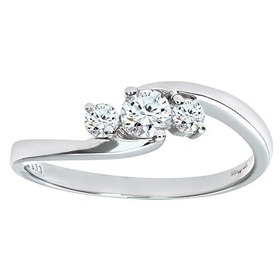 Naava Womens 9 ct White Gold Three Diamonds Ring Amazoncouk